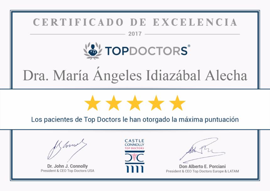 La Dra. Mª Ángeles Idiazábal Alecha, directora de INCIA, consigue la máxima puntuación de excelencia 2017 en Top Doctors