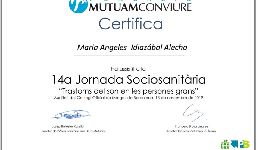 "El Instituto INCIA en la 14a Jornada Sociosanitaria ""Trastorns del son en les persones grans"""