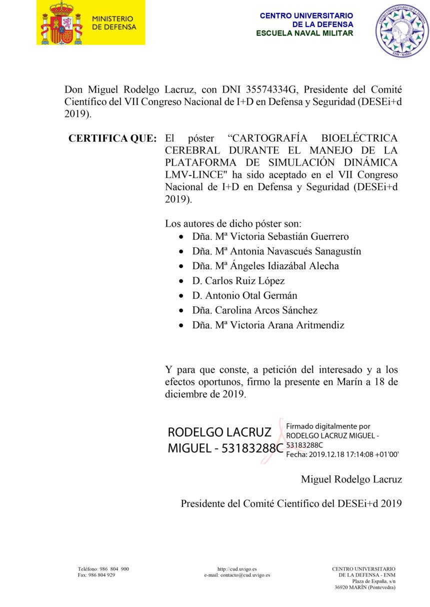 Certificado de 'Cartografía bioeléctrica cerebral durante el manejo de la plataforma de simulación dinámica LMV-LINCE'