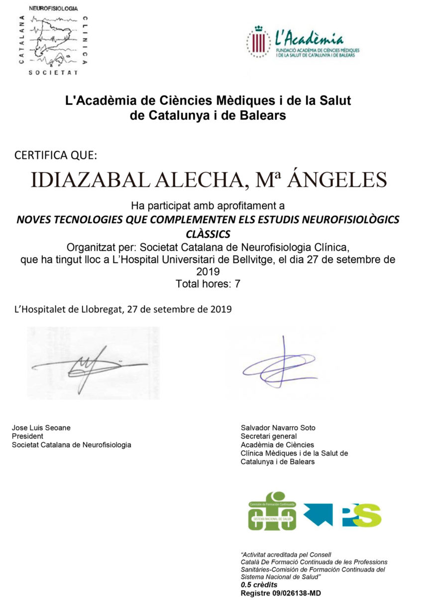 El Instituto INCIA en la reunión Anual de la Sociedad Catalana de Neurofisiología: Noves tecnologies que complementen els estudis neurofisiològics clàssics