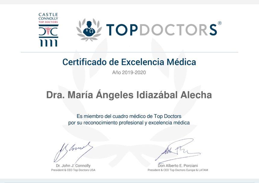 La Dra. Mª Ángeles Idiazábal Alecha consigue la máxima puntuación de excelencia Top Doctors en 2019-2020